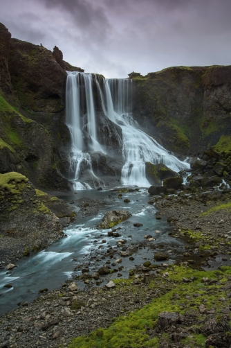 The waterfall Fagrifoss (Iceland)