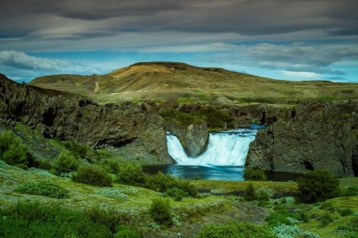 The Hjalparfoss Waterfall (Iceland)