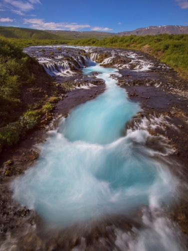 Braurfossar is amazing waterfall in Iceland