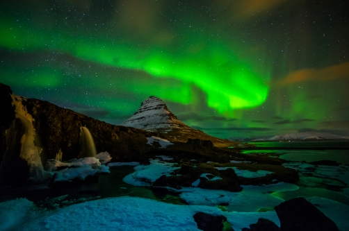 The northern lights at Kirkjufell